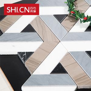 马赛克 水晶白+雅典木纹拼花石砖 MSK-243
